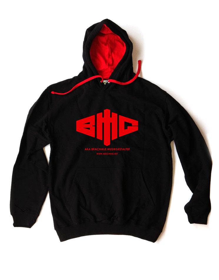 Kontrast-Kapuzenpullover Logo rot auf schwarz