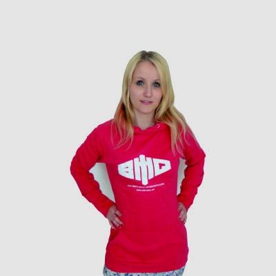 Girly Kapuzenpullover lang Logo weiß auf pink