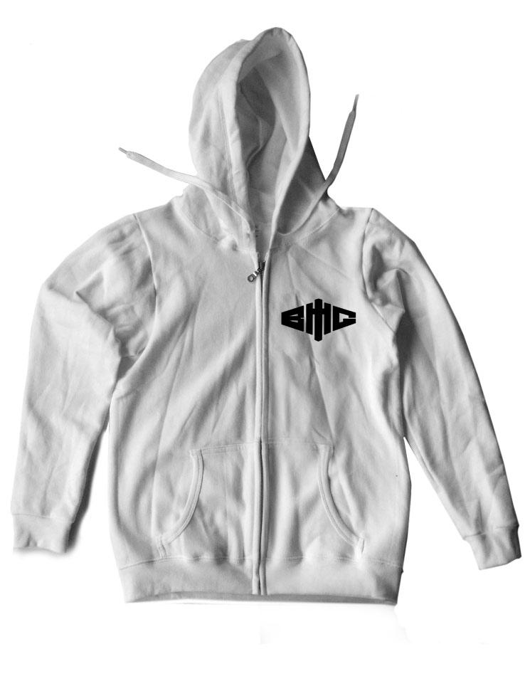 Kapuzenjacke Logo schwarz auf weiß