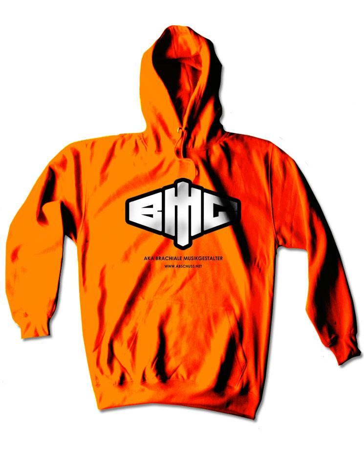 Neon-Kapuzenpullover Logo schwarz-weiß auf neon-orange