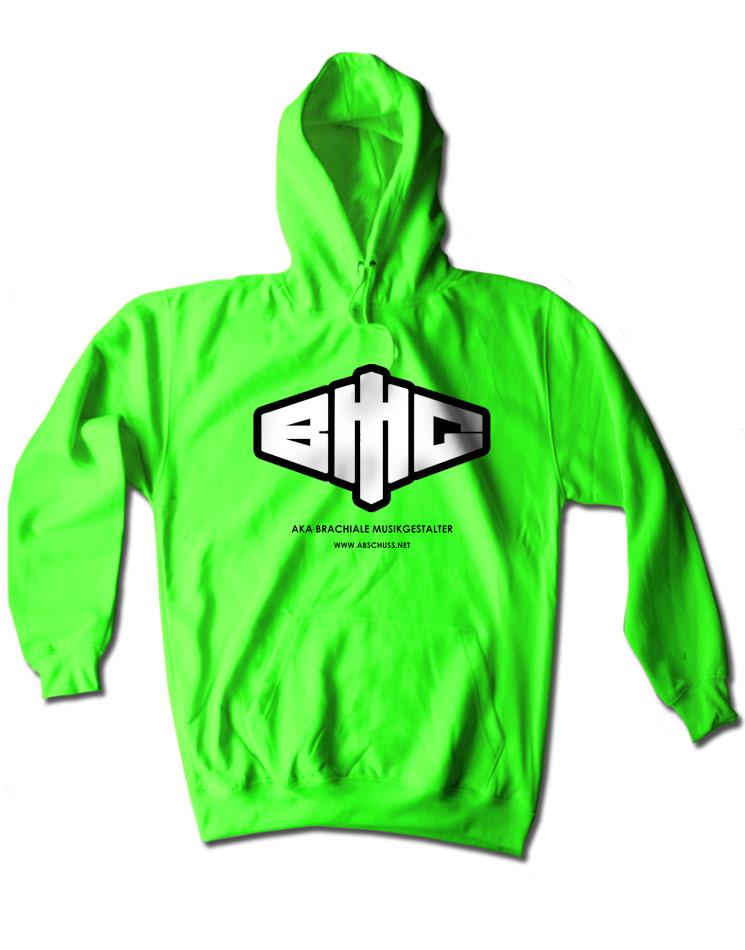 Neon-Kapuzenpullover Logo schwarz-weiß auf neon-grün