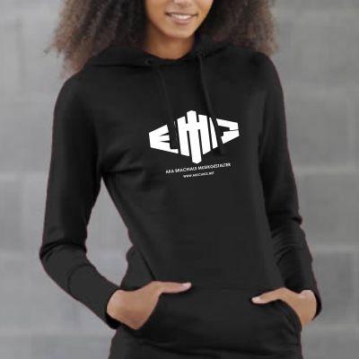Girly Kapuzenpullover lang Logo weiß auf schwarz