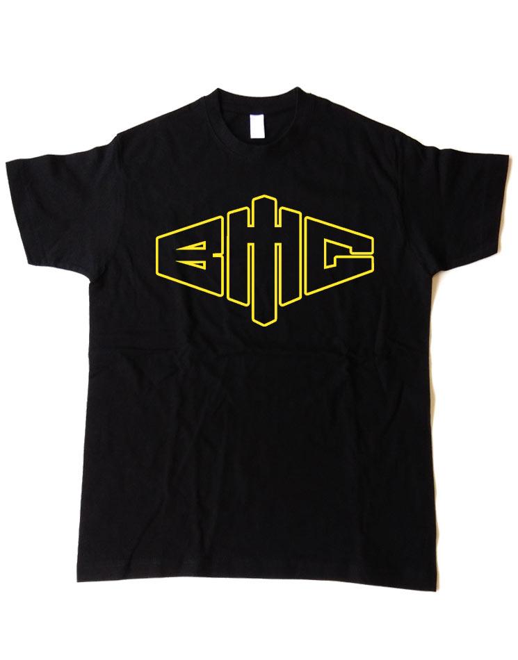 T-Shirt Outline neon-gelb auf schwarz
