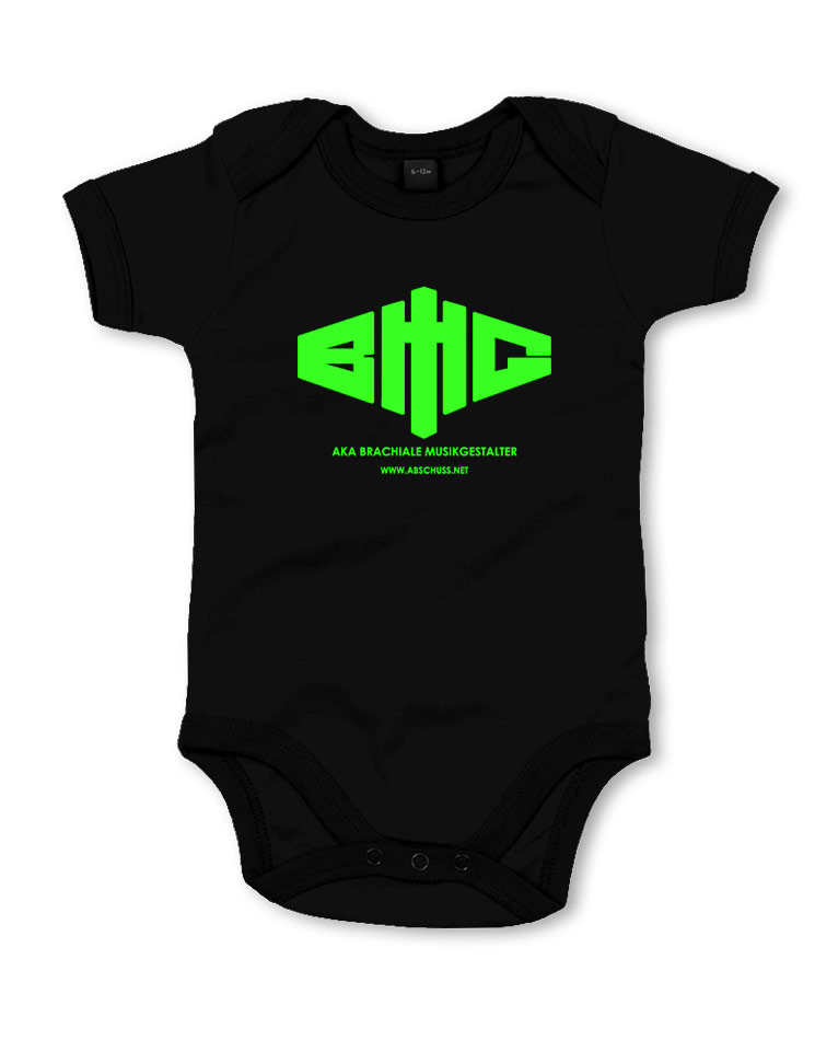 BMG Babybody - BLACK neongrün auf schwarz