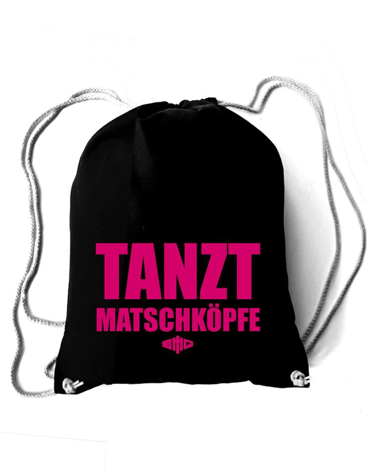 Baumwollrucksack Tanzt Matschköpfe neon-pink auf schwarz