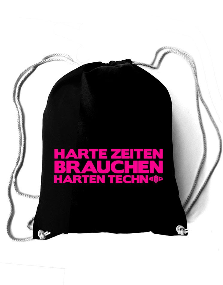 Baumwollrucksack Harte Zeiten neon-pink auf schwarz