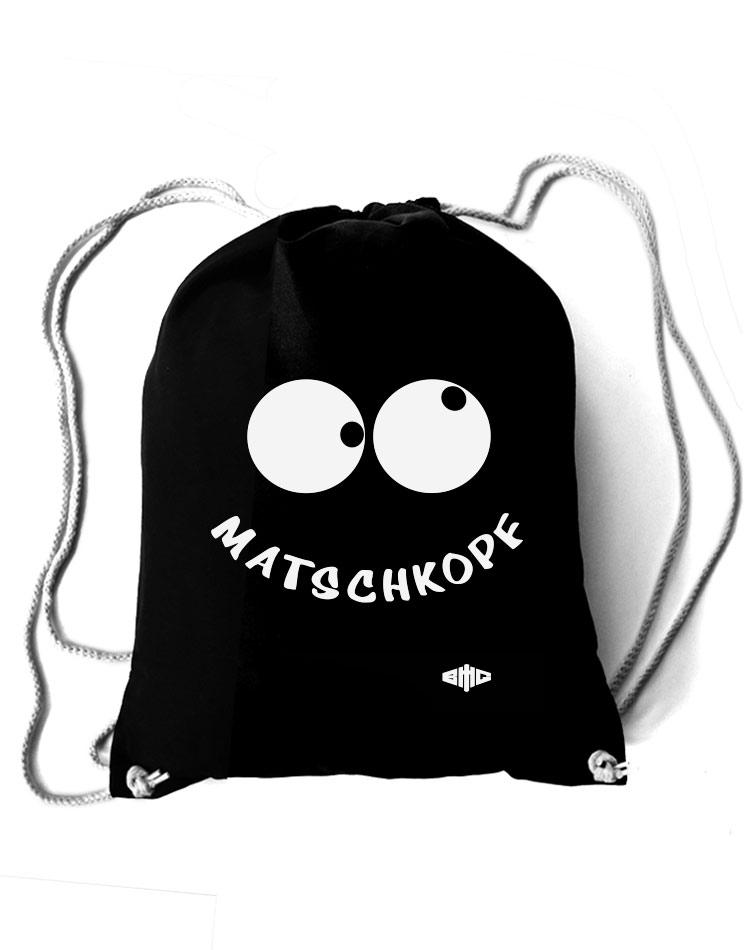 Baumwollrucksack Matschkopf weiß auf schwarz