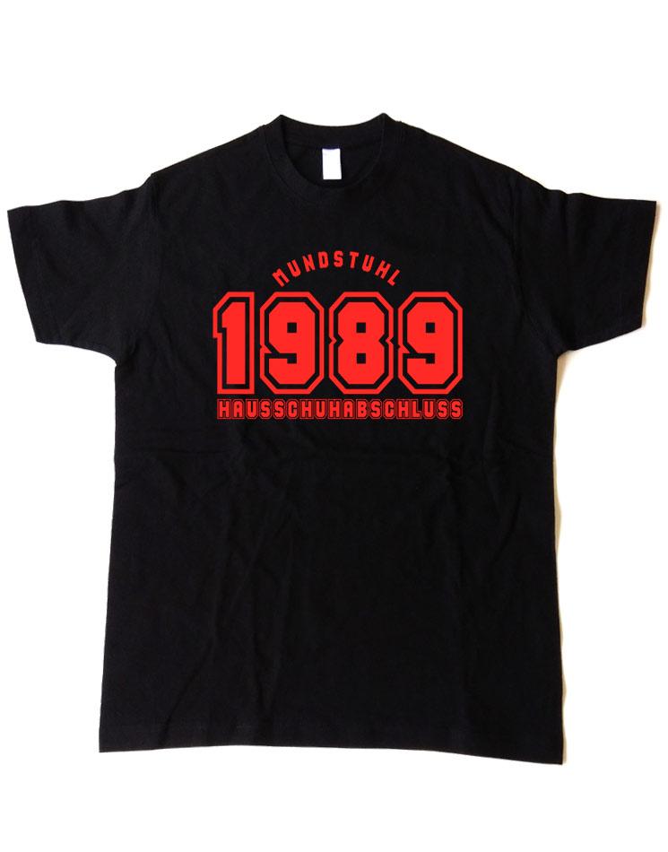 Hausschuhabschluss Shirt rot auf schwarz
