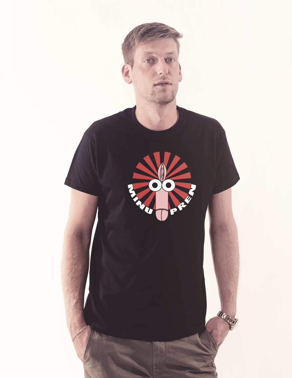 Fotzenpimmel Shirt mehrfarbig auf schwarz