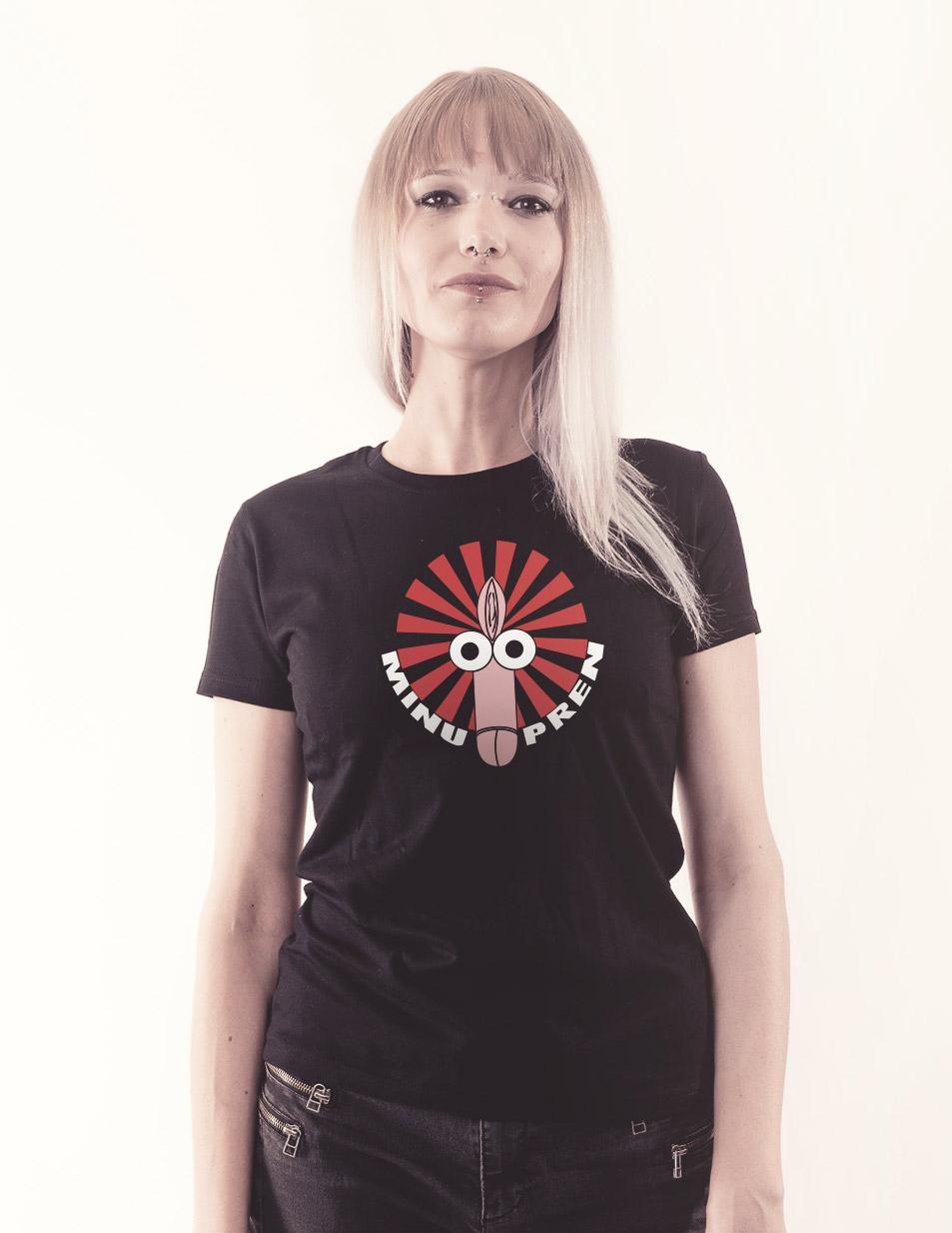 Fotzenpimmel Girly Shirt mehrfarbig auf schwarz
