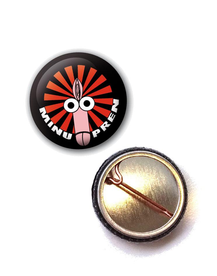Fotzenpimmel Button mehrfarbig auf schwarz
