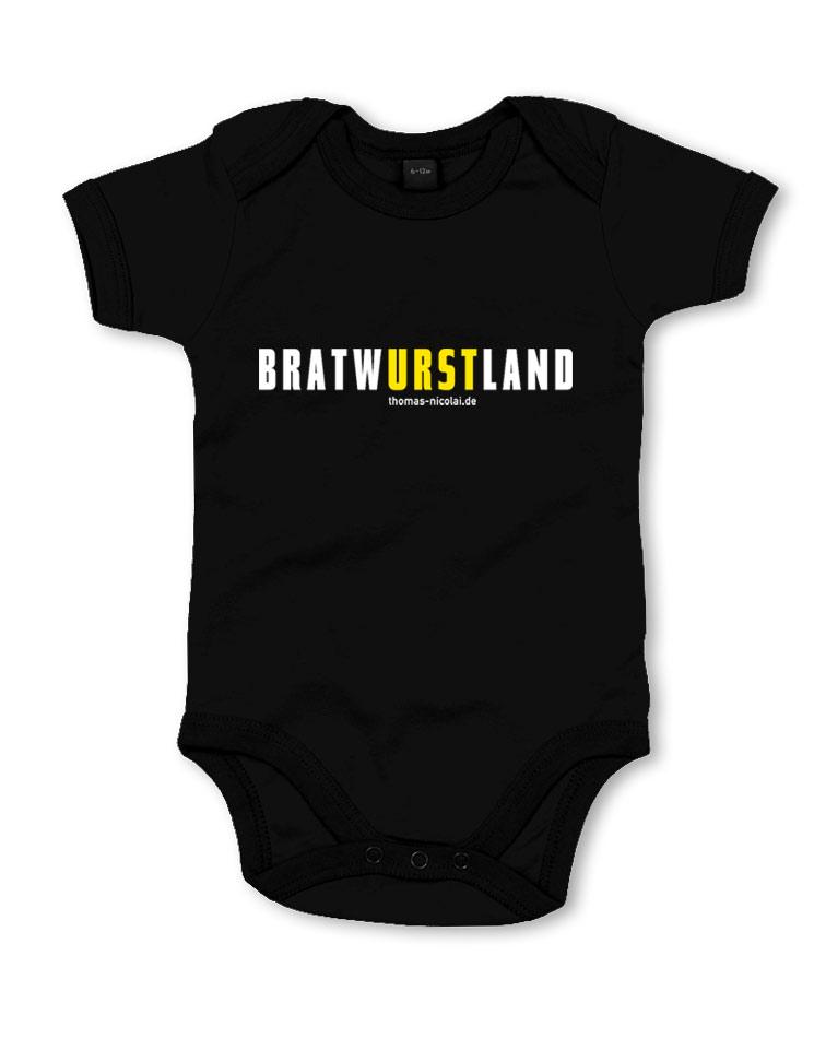 BratwURSTland Babybody mehrfarbig auf schwarz