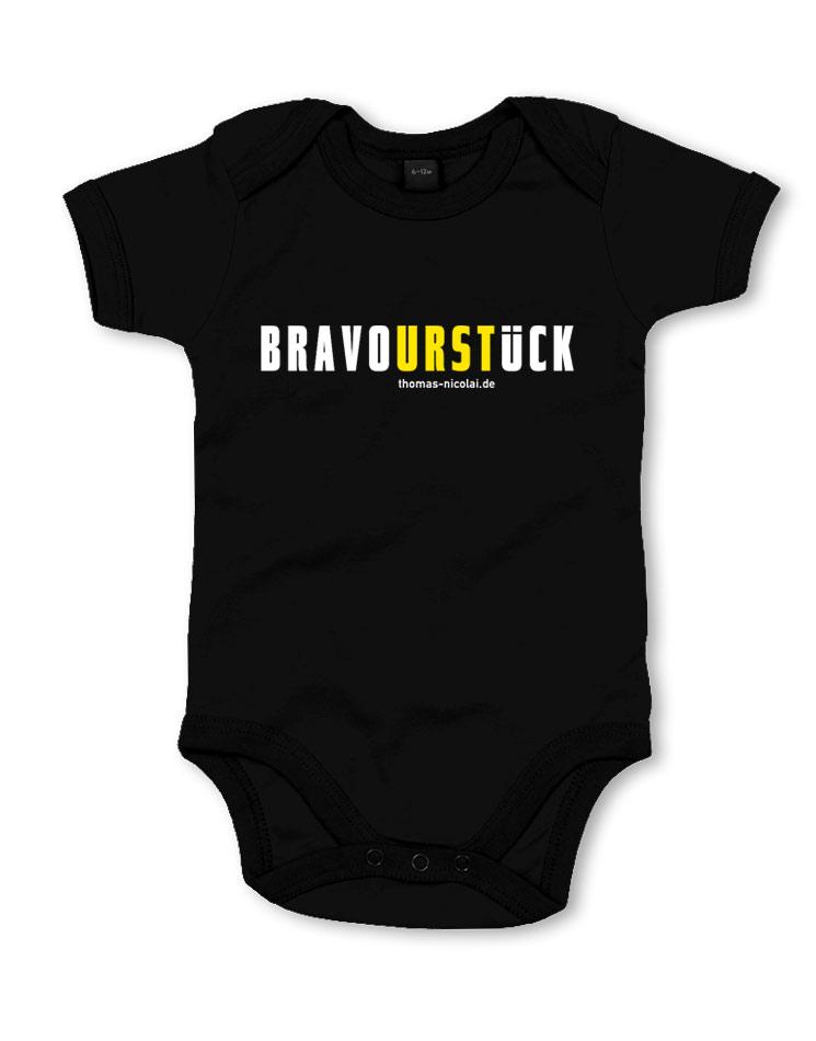 BravoURSTlück Babybody mehrfarbig auf schwarz