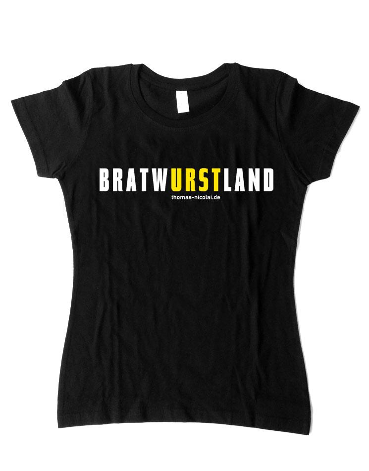 BratwURSTland Damenshirt mehrfarbig auf schwarz