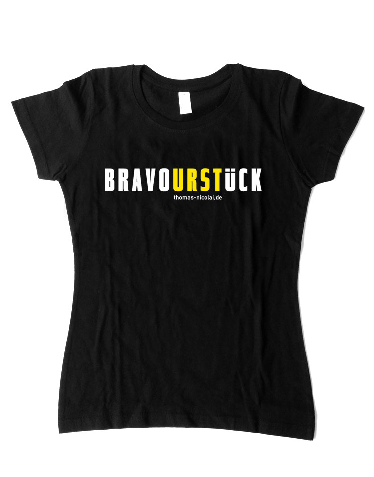 BravoURSTlück Damenshirt mehrfarbig auf schwarz
