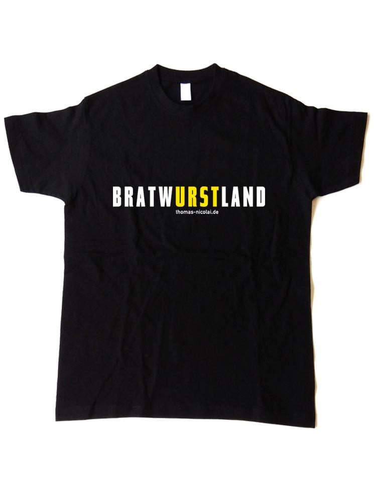 BratwURSTland Herrenshirt mehrfarbig auf schwarz