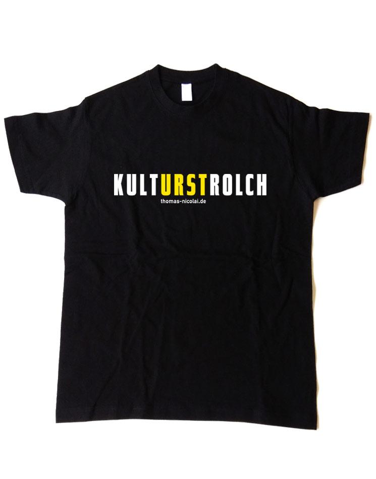 KultURSTrolch Herrenshirt mehrfarbig auf schwarz