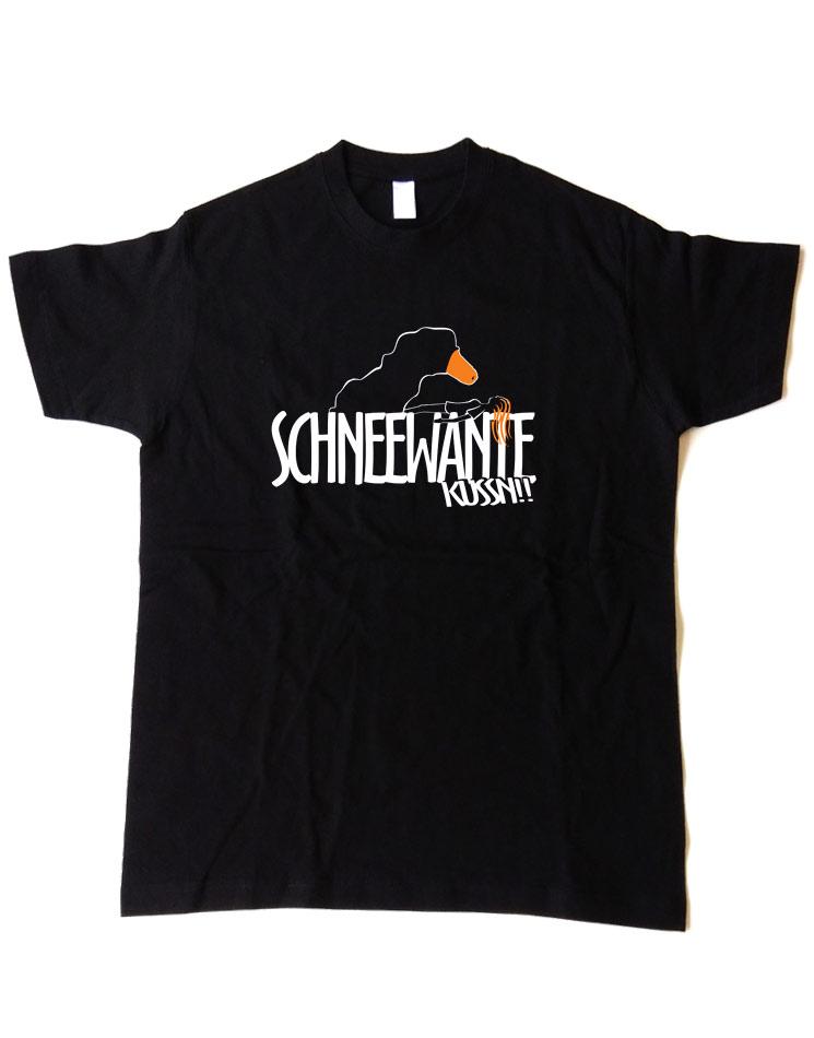 Schneewante T-Shirt mehrfarbig auf schwarz
