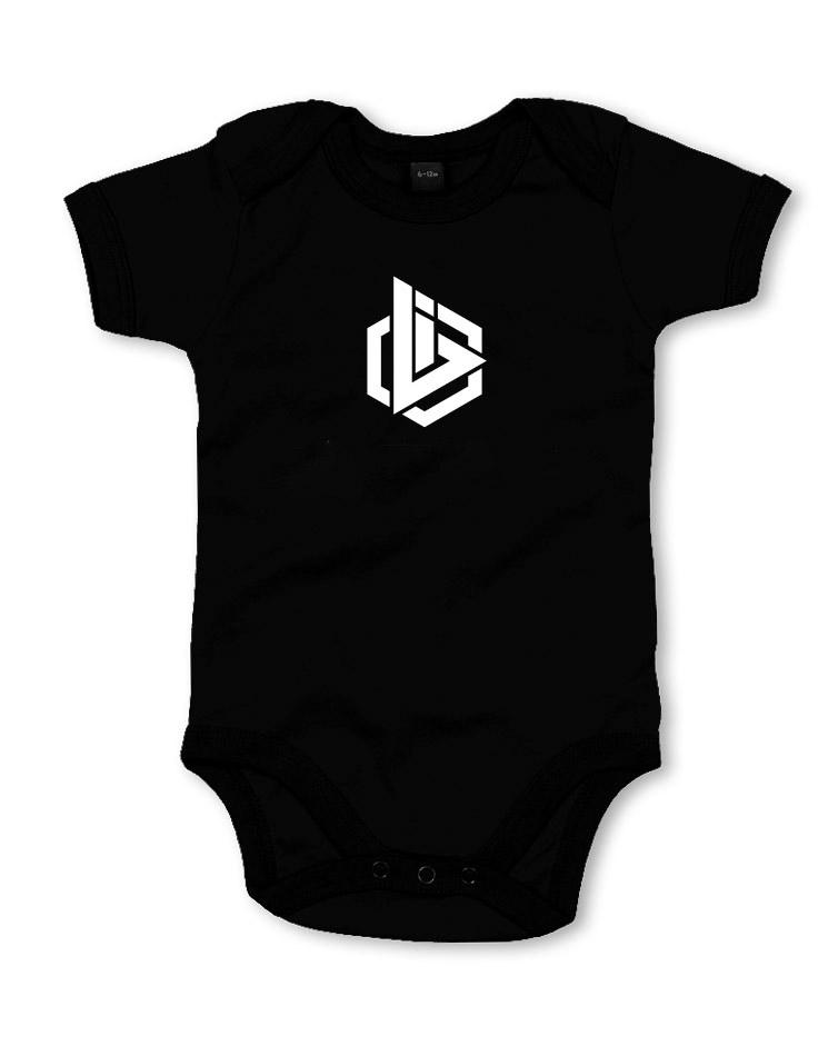 Babystrampler OBI Logo weiß auf schwarz