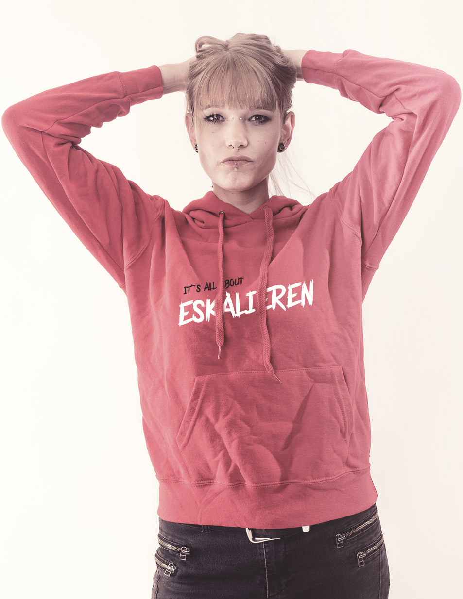 Its all about Eskalieren - Girly Kappu mehrfarbig auf pink