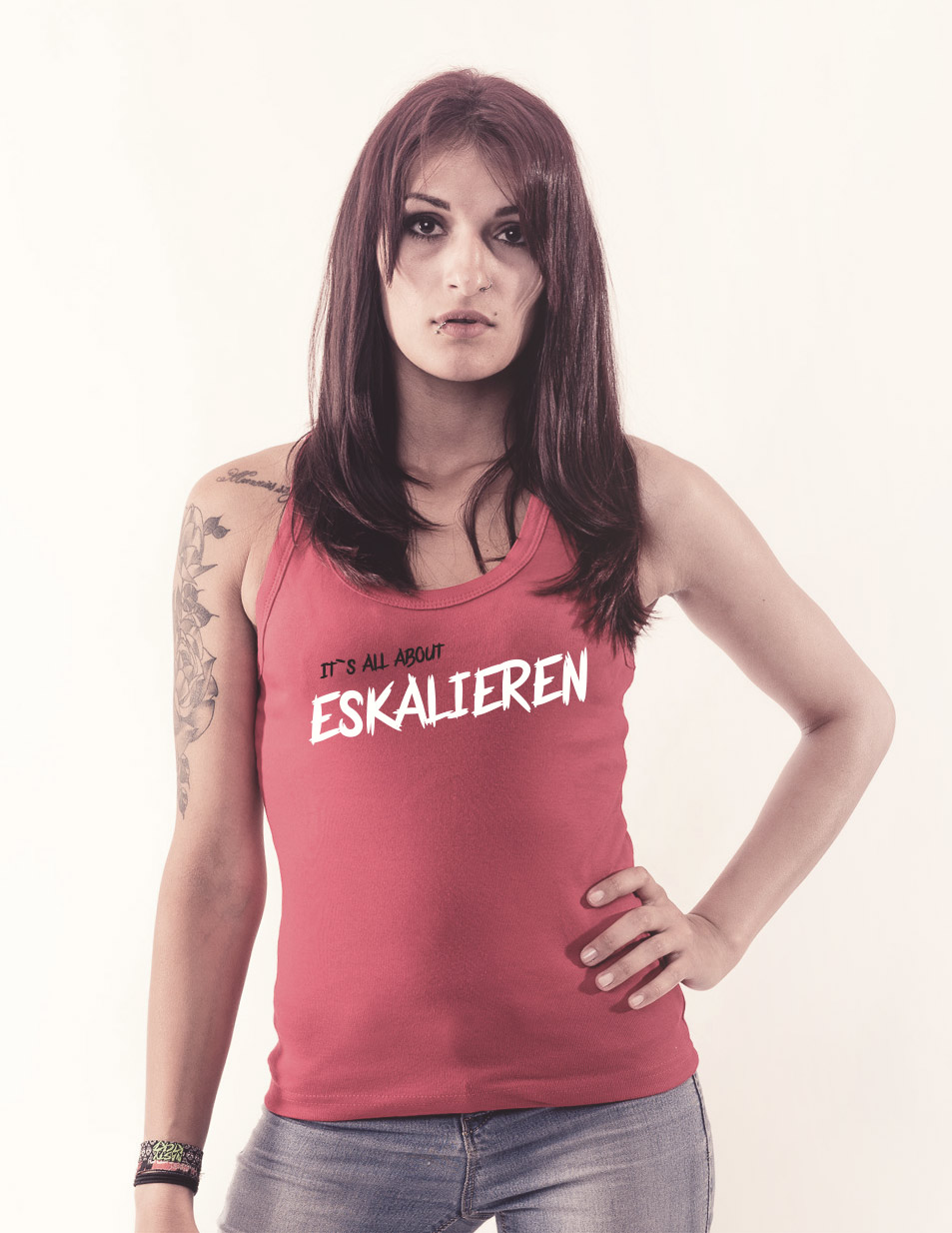 Its all about Eskalieren - Girly Tank Top Pink Edition mehrfarbig auf pink