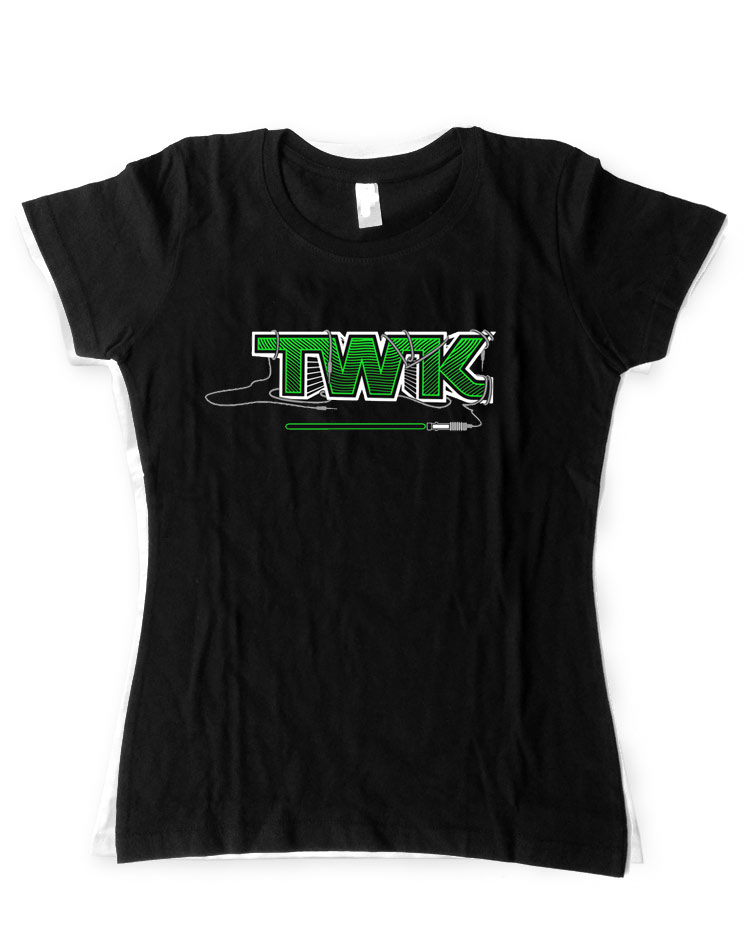 Tobi Wan Kenobi Girly T-Shirt grün auf schwarz
