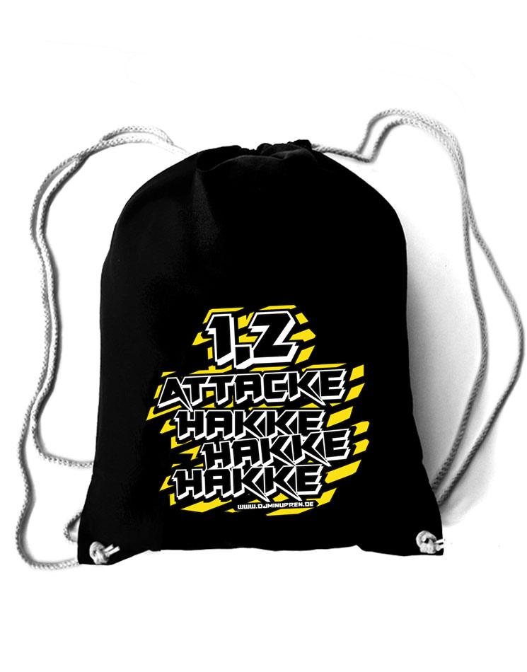 Hakke Hakke Hakke Baumwollrucksack mehrfarbig auf schwarz
