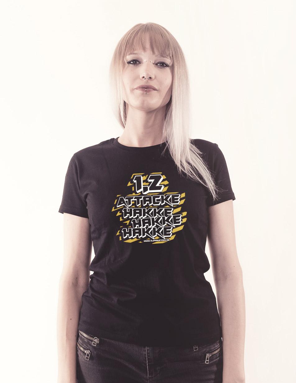 Hakke Hakke Hakke Girly T-Shirt mehrfarbig auf schwarz
