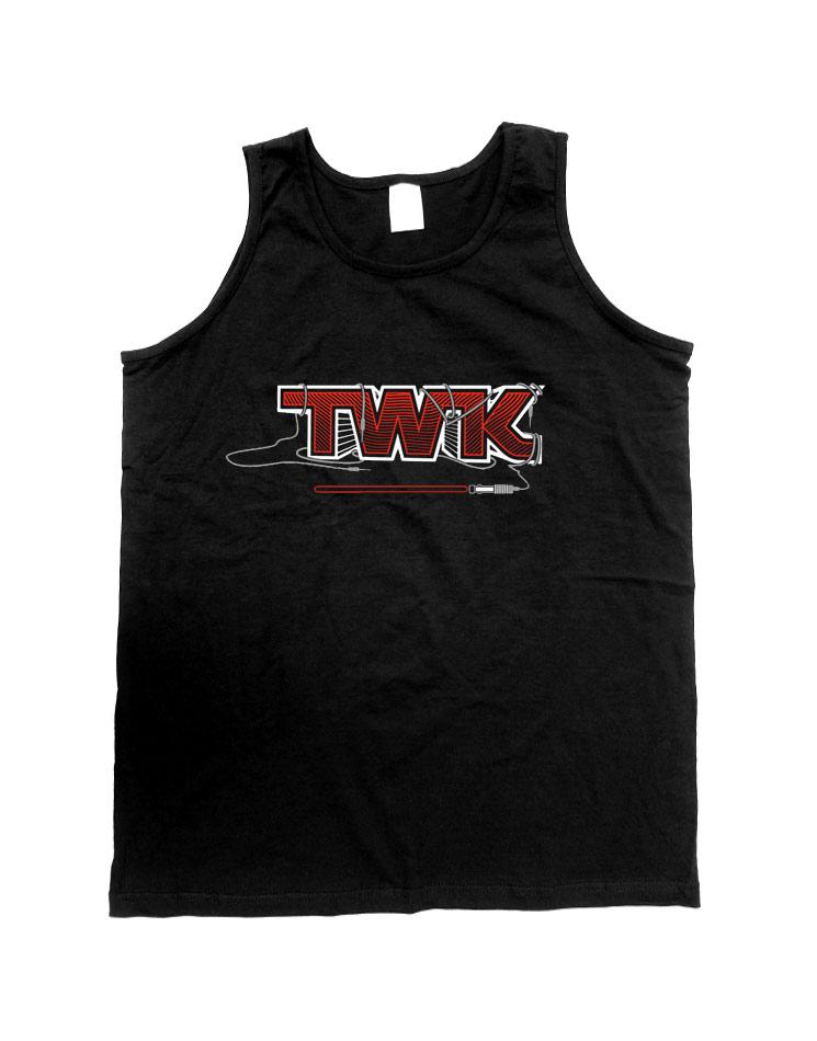 Tobi Wan Kenobi Herren Tank Top weiß/rot auf schwarz