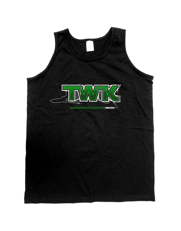 Tobi Wan Kenobi Herren Tank Top weiß/grün auf schwarz
