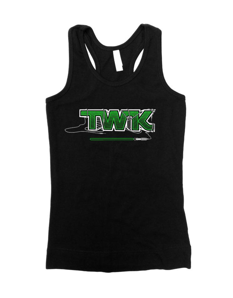 Tobi Wan Kenobi Girly Tank Top weiß/grün auf schwarz