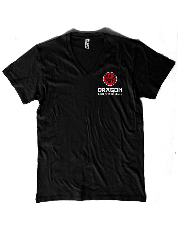 Dragon V-Neck Shirt mehrfarbig auf schwarz