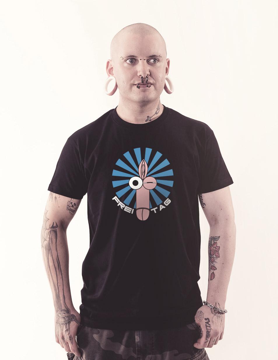 Fotzenpimmelshirt - Freitag mehrfarbig auf schwarz