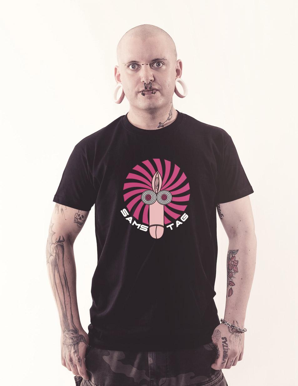 Fotzenpimmelshirt - Samstag mehrfarbig auf schwarz
