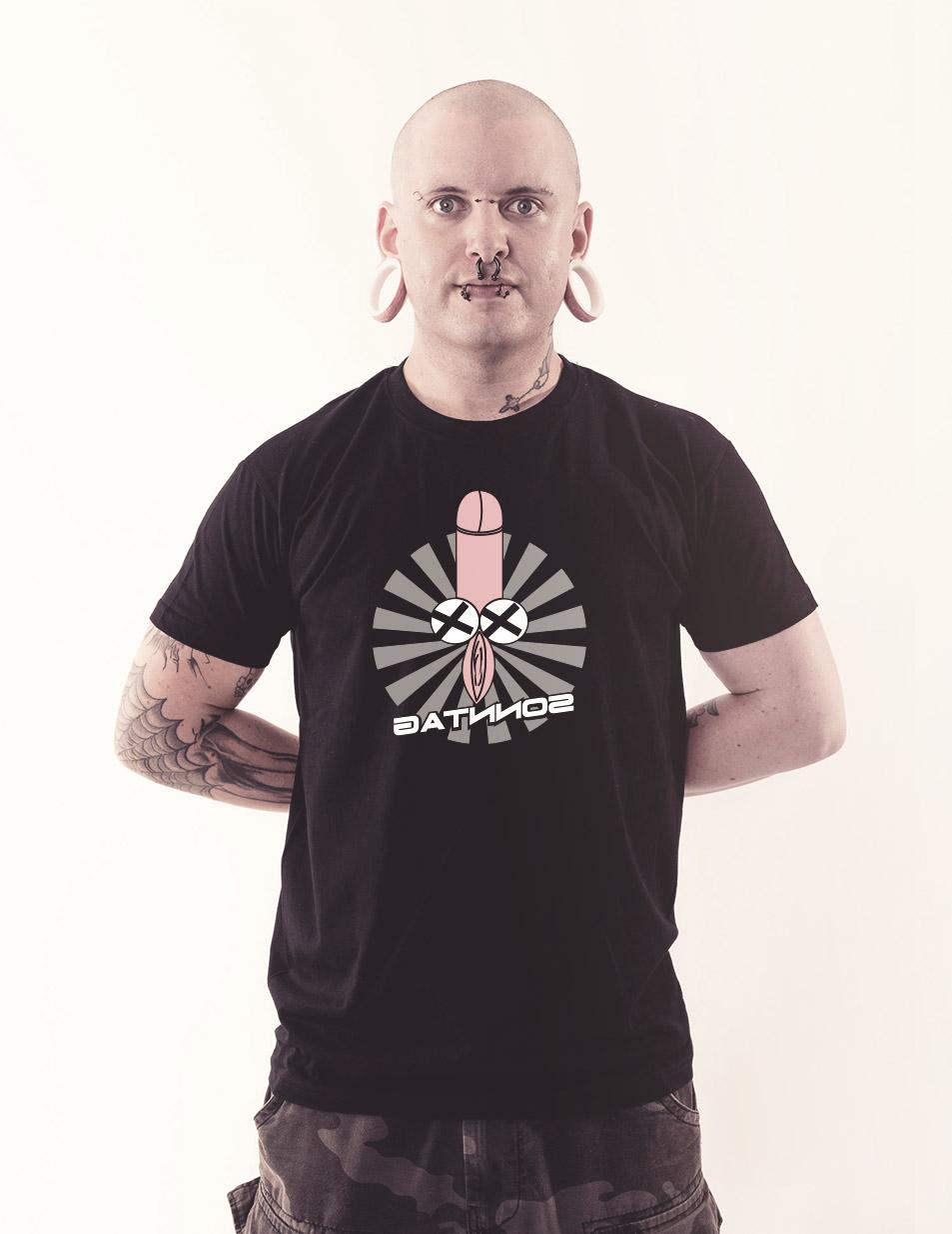 Fotzenpimmelshirt - Sonntag mehrfarbig auf schwarz