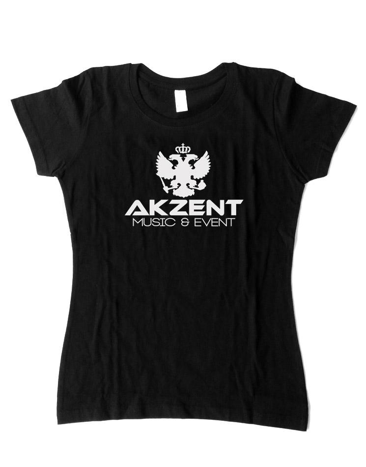 Akzent Girly T-Shirt weiß auf schwarz