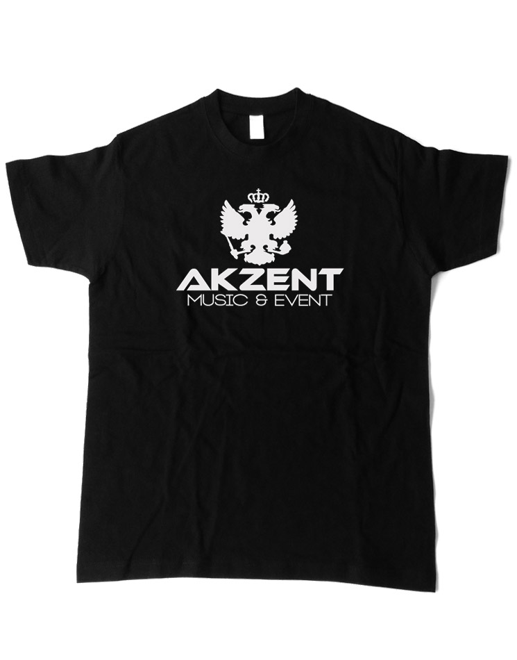 Akzent T-Shirt weiß auf schwarz