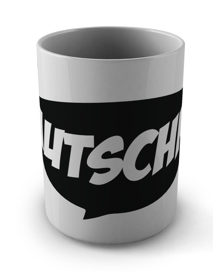 Autschn! Tasse schwarz auf weiß