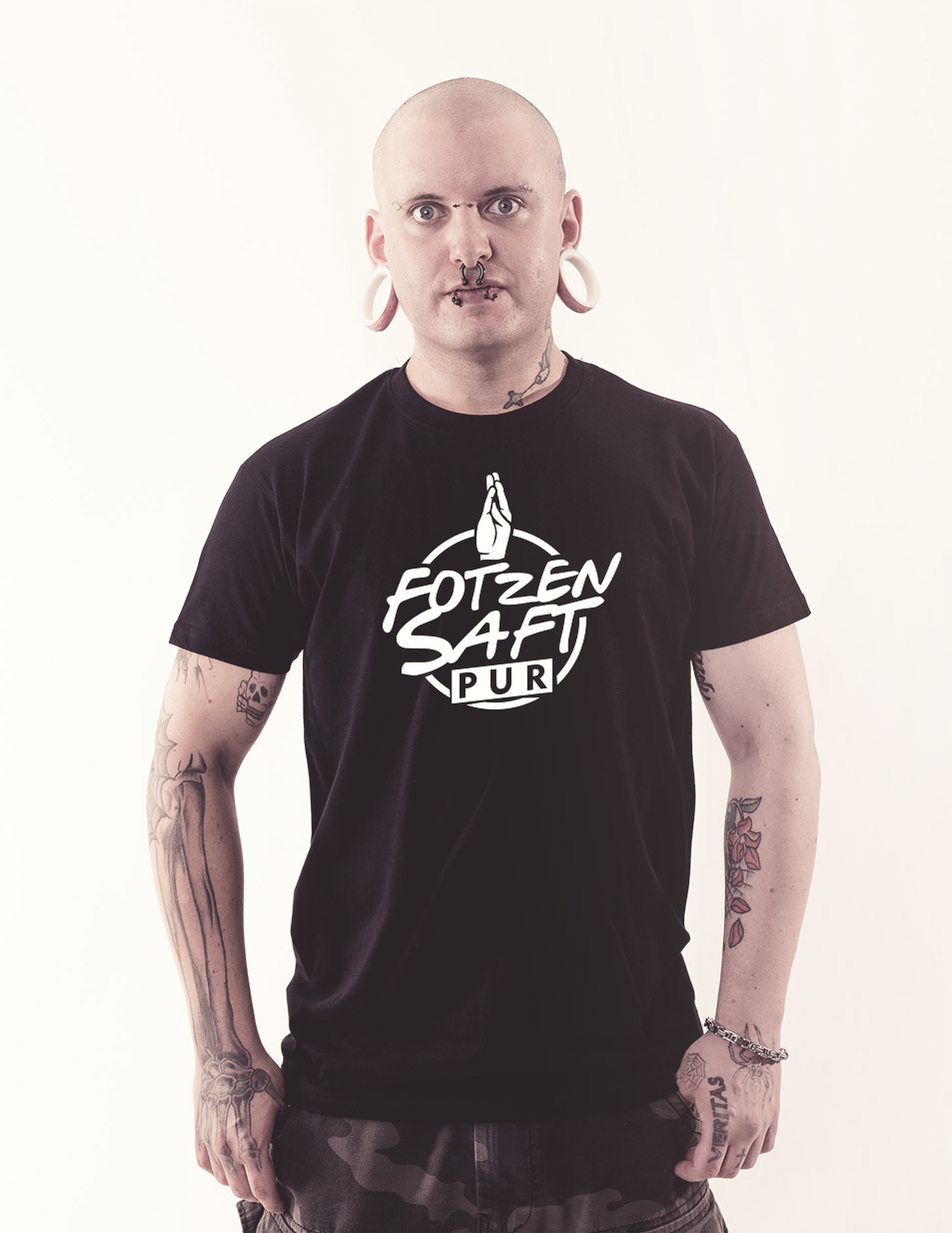 Fotzensaft Shirt weiß auf schwarz