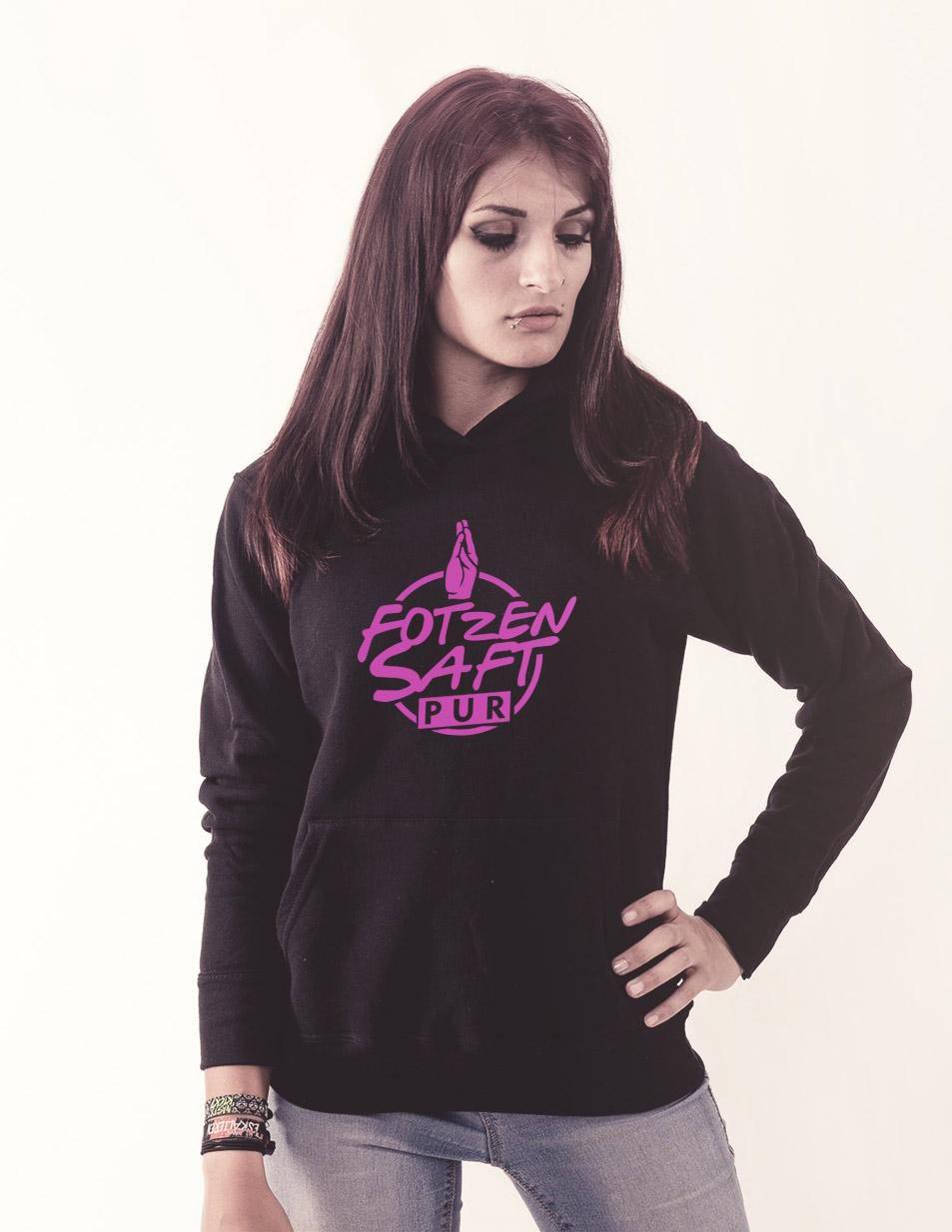Fotzensaft Girly Kappu neonrosa auf schwarz