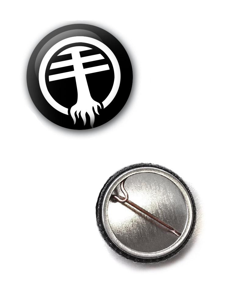 Grundfunk Button - Logo weiß auf schwarz