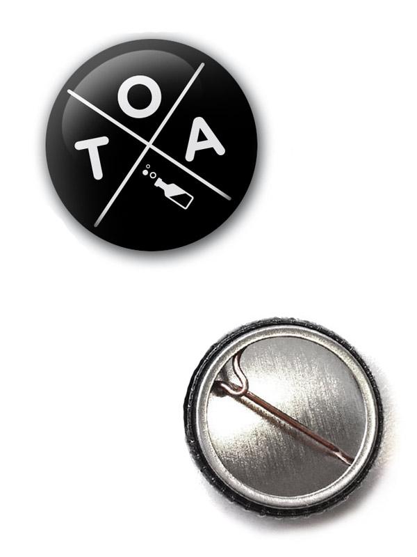 TOA Button Kreuz weiß auf schwarz