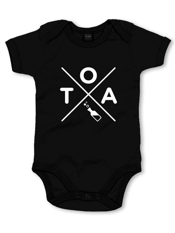 TOA Babystrampler weiß auf schwarz