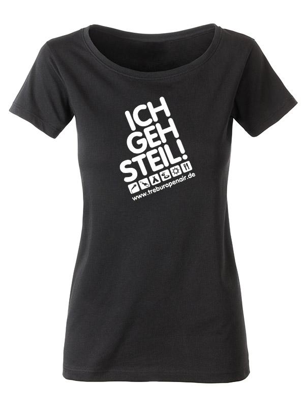 TOA Ich geh Steil Girly T-Shirt mehrfarbig auf schwarz