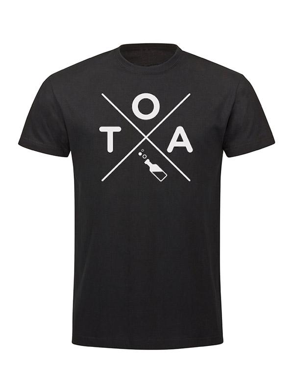 TOA Kreuzshirt - Unisex  mehrfarbig auf schwarz