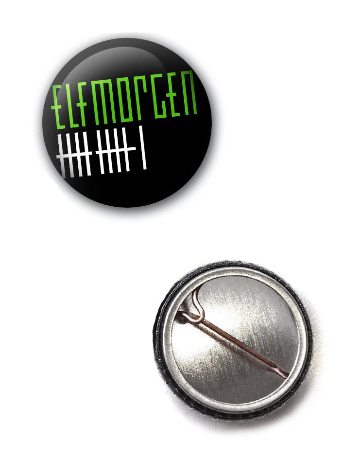 Elfmorgen Button grün-weiß auf schwarz