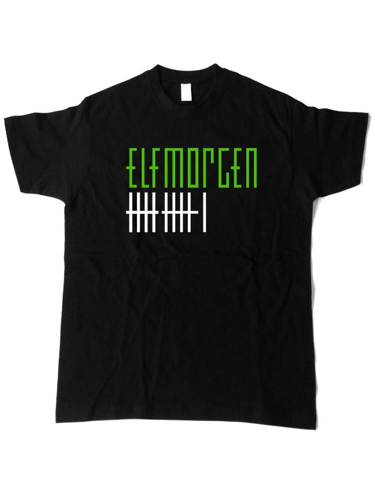 Elfmorgen T-Shirt grün-weiß auf schwarz