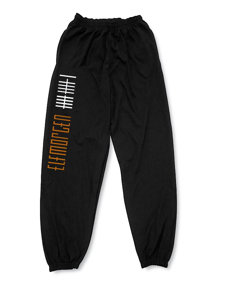 Elfmorgen Jogginghose Stricher orange-weiß auf schwarz
