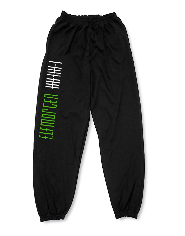 Elfmorgen Jogginghose Stricher grün-weiß auf schwarz