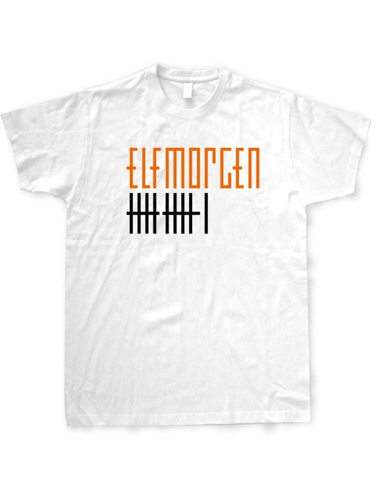 Elfmorgen T-Shirt orange-schwarz auf weiß